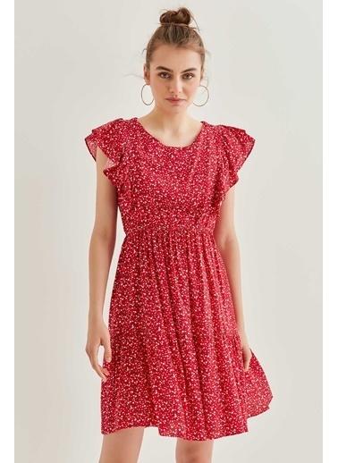 Vitrin Kollar Volanlı Desenli Elbise Kırmızı